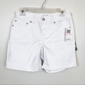 SEVEN7 Jean Shorts White Denim Embroidered Pocket